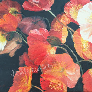 POPPY painting, poppies, canvas art, flower painting, poppy art, interior decor, living room art, oil painting, Etsy art, by Jan Matson