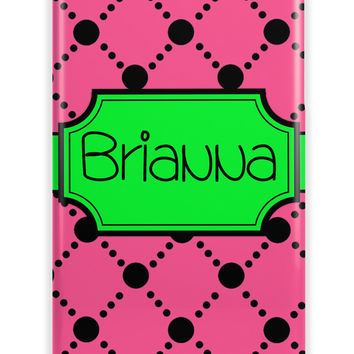 Pink, black and lime green dot pattern - Girly name Iphone case