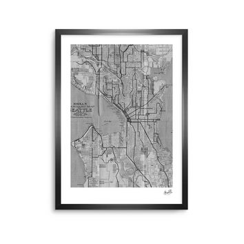 Seattle - Black White Urban Digital Framed Art Print
