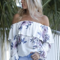 Safe Harbor Off white Off The Shoulder Top