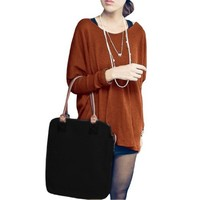 Ladies Batwing Sleeves Scoop Neck Loose Stretchy Sweater