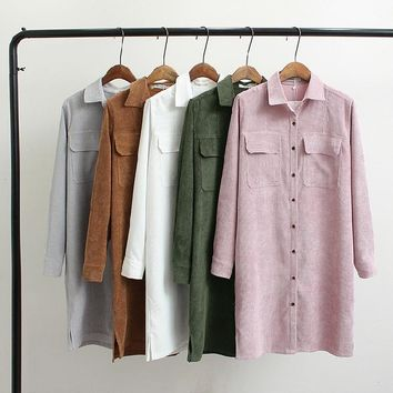 Autumn Corduroy Fabric Woman Clothing Solid Color Fashion Ladies Long Shirt New Style Loose Turn-down Collar Vintage Shirts