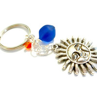 Peacock Blue Sea Glass Celestial Sun Keychain Made With Swarovski Elements