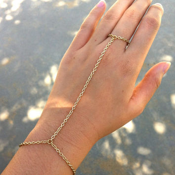 SALE Gold Color Chain Link Bracelet Ring Connector Hand Harness