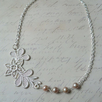 Floral Metal Lace Necklace, Beaded Lace Necklace, Pearl and Lace Necklace, Asymmetrical Necklace