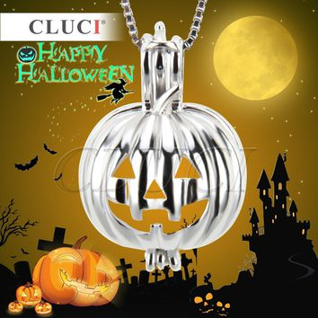 CLUCI Pumpkin design 925 sterling silver pearl necklace cage pendant 3pcs, great jewelry for Halloween