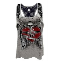 Casual Sleeveless Tank Tops Print 3D Flower Skull Casual Tees