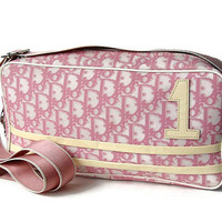 Christian Dior. Pink shoulder bag.  Designer cross body purse. Authentic #1 Christian Dior pink and white shoulder bag.