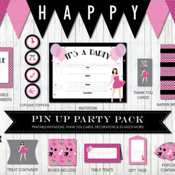 Rockabilly Pin Up Sparkles Package, Birthday Decorations, DIY Party, Pin Up Retro, Vintage, Ladies, Pink, Ladies Night,  PolkaDot