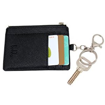 Saffiano Leather Credit Card Holder Coin Change Purse with Key Ring Keychain