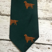Irish Setter Tie Hunting Dog Green Mens Necktie Schenker Original USA
