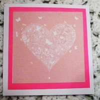 White Heart with butterflies Love Card,4.7 5