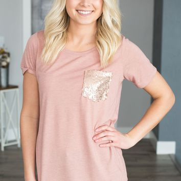 Rose Gold Sequin Pocket Tee- Pink