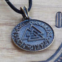 RUNIC VALKNUT Bronze Plated Double Faced by ArtisanWitchcrafts