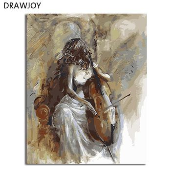 DRAWJOY Framed Picture DIY Painting By Numbers Canvas Oil Painting Beauty Lady and Cello Wall Art For Living Room
