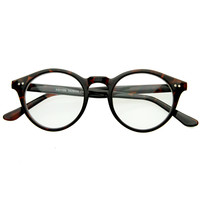 Vintage European Clear Lens Small Round Glasses 8403