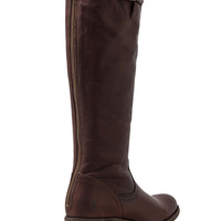 Frye Pippa Back Zip Tall Boot in Dark Brown