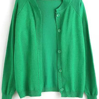 Green Knit Long Sleeve Cardigan with Buttons