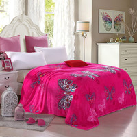 Soft microfiber blankets Winter warm coral cashmere blanket Red butterfly style Multifunction sofa / travel blanket bed Sheets