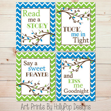 Baby Boy Nursery Decor Nursery Art Prints Modern Bright Blue lime Green Wall Art Read Me A Story Tuck Me in Tight Set of 4 Art Prints #1008