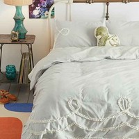 Plum & Bow Ruffle-Loop Duvet Cover- Grey Full/queen