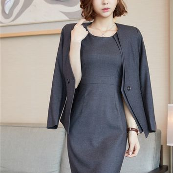 New Style Formal Ladies Dress Suits Women Business Suits Blazer and Jacket Sets Grey Ladies Office Uniform Designs