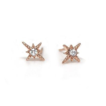 *Online Exclusive* 14kt Rose Gold Diamond Wandering Star Studs