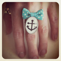 Old School Pin Up Anchor ring, turquoise bow