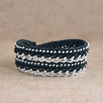Black wrap bracelet with chain and beads, black bracelet, chunky chain bracelet, woven bracelet
