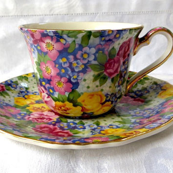 Royal Winton Julia Teacup, Chintz Tea Cup, Grimwades Bone China, Made In England, Multicolor Chintz