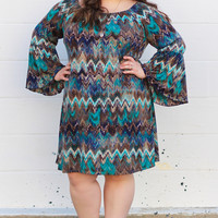 Waves of Fun Tunic Dress in Brown/Teal {Curvy}
