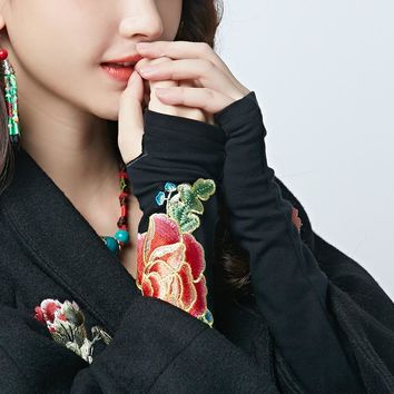 New High Quality Vintage Style Cotton Fingerless Gloves Embroidery Flower Pattern Black Long Gloves MM174206