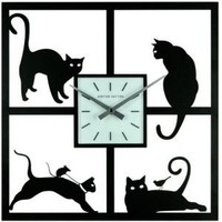 Ashton Sutton Wall Clocks Ashton Sutton Four Cats Wall Clock in Matte Black with Frosted Glass Dial Clocks