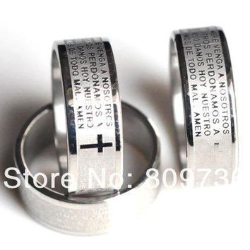 6pcs Etched Engrave Bible Prayer Cross Ring Stainless Steel Rings Fashion Catholic Christian Religious Jewelry Free
