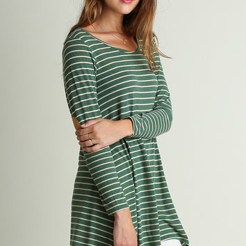 """""""Albany"""" Elbow Patch Tunic, Green"""