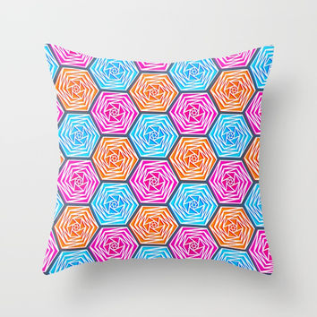 Hexagon Pattern (Bright Blue, Hot Pink, Orange) Graphic Flowers Throw Pillow by AEJ Design