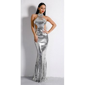 BAY High Neck Side Cut Out Sequined Dress