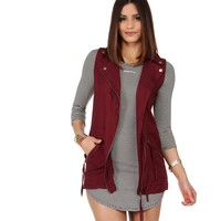 Burgundy Zip Me Away Long Vest