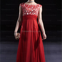 A-line Bateau Chiffon Floor-length Red Sashes / Ribbons Evening Dress at dressestore.co.uk
