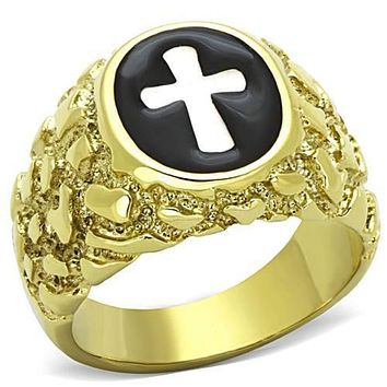 WildKlass Jewelry Stainless Steel Ring Cross Two-Tone IP Gold Men
