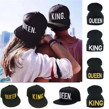 """King"" & ""Queen"" Embroidered Skullie / Snapback Hats"