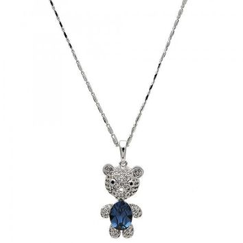 Gold Layered Fancy Necklace, Teddy Bear Design, with Swarovski Crystals and Micro Pave, Rhodium Tone