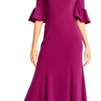 Adrianna Papell - AP1E201829 Cold Shoulder Bell Sleeves Jersey Gown