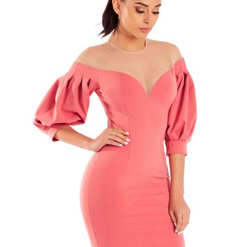 Ivanna Salmon Pink Mesh Off Shoulder Puffy Sleeve Stretch Crepe Dress