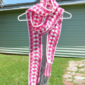 Crochet Scarf narrow pink and white woman's fashionable accessory pink for breast cancer awareness unique gift neck warmer with fringe
