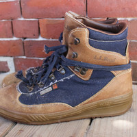 90s ll bean insulated italian denim and leather hiking boots lace up sz 10 gortex