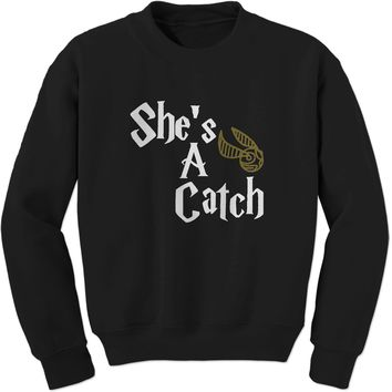 She's A Catch Matching Quidditch Adult Crewneck Sweatshirt