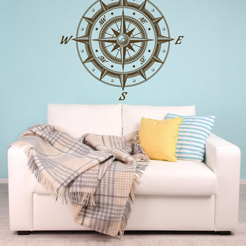 Compass Rose 2 Huge Decorative Removable Vinyl Wall Art nautical vinyl decor lake house by the beach nautical chart mapping compass sticker