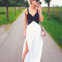White Black Strap Cut Out Split Maxi Dress