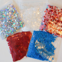 Happy Fourth of July Solvent Resistant Glitter Sampler Set of 5 for Glitter Nail Art and Glitter Crafts